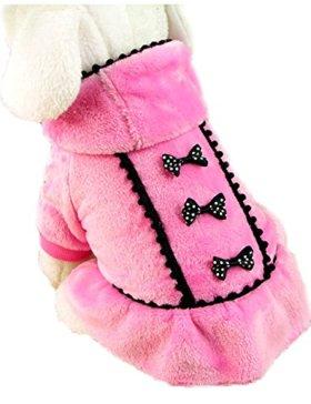 ACEFAST Puppy Pet Dog Winter Hoodie Bowknot Warm Coat Soft Plush Princess Jasmine Dress (Pink, M)