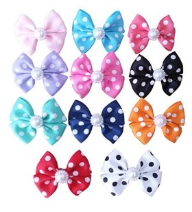 BysitShow Dot Bowknot French Barrette Pet Dog Hair Bows Clips Puppy Cat Grooming Hair Accessories Pack of 10