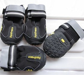 Colorfulhouse Waterproof Pet Boots for Medium to Large Dogs Labrador Husky Shoes 4 Pcs (Black, 8 (3.3″x2.9″))