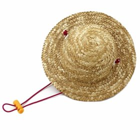 Small Cute Handcrafted Woven Straw Pet Hat Costume Cat Little Dog Toy Hat Novelty Cosplay Farmer Hat Adjustable String