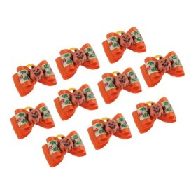 Neewer 10 Pieces Dog Cat Pet Grooming Halloween Pumpkin Pattern Hair Headwear Decoration Bowknot with Rubber Band Orange Color