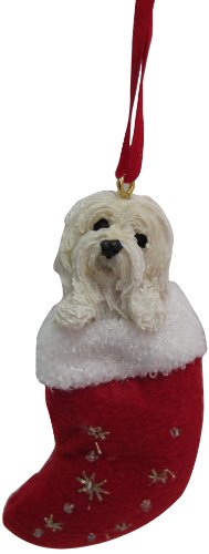 """Havanese Christmas Stocking Ornament with """"Santa's Little Pals"""" Hand Painted and Stitched Detail"""