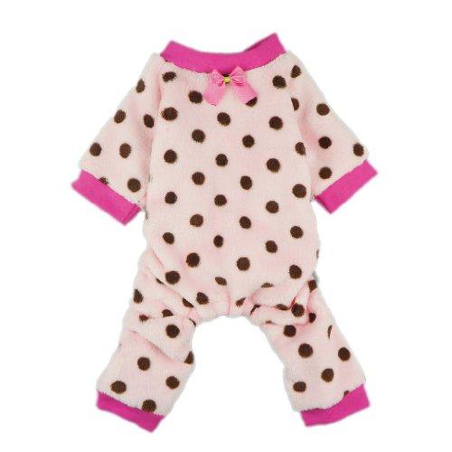 Fitwarm Pink Cute Polka Dots Dog Coat for Pet Dog Pajamas Soft Winter Clothes, Medium