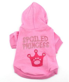 SMALLLEE_LUCKY_STORE Pink Hoodie Hooded Christmas T Tee Shirt Small Dog Christmas Clothes Costume – Spoiled Princess M