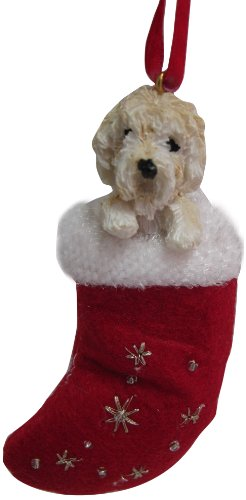 """Labradoodle Christmas Stocking Ornament with """"Santa's Little Pals"""" Hand Painted and Stitched Detail"""