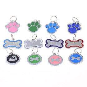 Hanging on Collar Pet ID Tag Dog Kitten Puppy Cat Name Tag Personalised Print Random