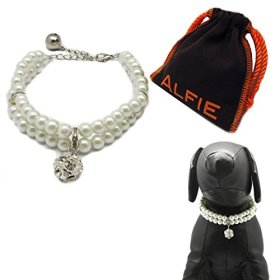 Alfie Pet by Petoga Couture – Lizbeth Double Layer Pearl Necklace for Dogs and Cats with Fabric Storage Bag, Color: White, Size: Large