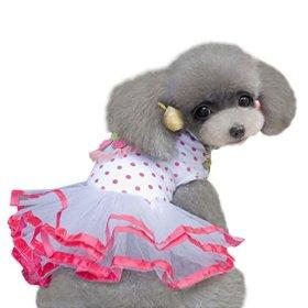 HP95(TM) Fashion Puppy Dog Princess Dress Dog Cherry Lace Skirt Pet Dog Tutu Dress (S)
