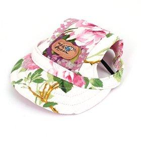 Flower Pattern Nylon Chin Strap Pet Baseball Cap Visor Hat Tricolor