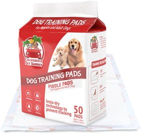 Dog Training Pads- Maximum-Absorption Puppy Pee Pads w/Insta-Dry Technology offer Low Price, High Quality & No Tracking. Save Money & Frustration with Leak-Resistant Pads from California Pet Supply – 23.6″ x 23.6″ (Max-Absorbent, 50-Pack)