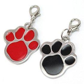 2Pcs Puppy Pet Dog Cat Paw Foot Print Collar Pendant