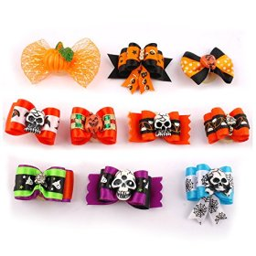 Berry® Halloween Gift Pumpkin Skull Pattent Rehinstone 20pcs Cute Dog Cat Hair Bows with Rubber Bands Nylon Pet Grooming Accessoriess Mixed Colors
