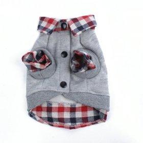PanDaDa Dog Cat Grid Sweater Puppy Warm T-Shirt Pet Clothes POLO Shirt Dog Coat Grey M