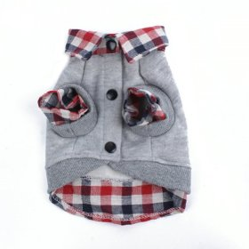 PanDaDa Dog Cat Grid Sweater Puppy Warm T-Shirt Pet Clothes POLO Shirt Dog Coat Grey S