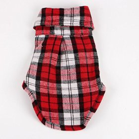 Commoditier(TM) Pet Dog Cat Cute Puppy Clothes Plaid Small Dog Apparel Shirt Size Medium – Red Color – DESIGNED FOR SMALL BREED DOG