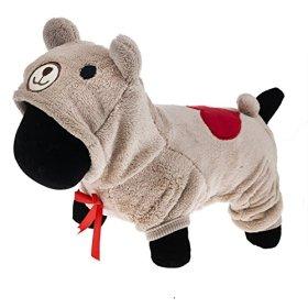 PetWell Pet Dog Bear Type Warm Fleece Hooded Coat Jumpsuit Brown XS