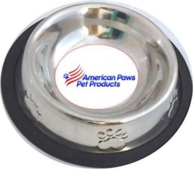 This Pet Food & Water Bowl Dish Is Constructed From Stainless Steel & A Non Skid Bottom !! Perfect for Small Dog Cat Kitten Puppy or Rabbit (2 pc)