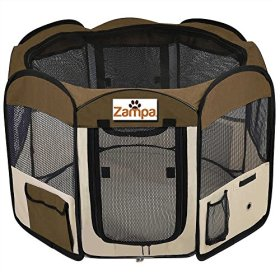 Pet 45″ Playpen Foldable Portable Dog/Cat/Puppy Exercise Kennel For Small medium Large. The Best Indoor And Outdoor Pen. With Cary Bag. Easily Sets Up & Folds Down & Space Free