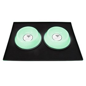 Platinum Pets Platinum Pets Heavy Duty Silicone Puppy Mat with Two 1-Cup Embossed Puppy Bowls, Winter Mint