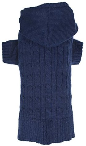 Navy Dog Classic Cable Pet Sweater Hoodie for Dogs, Medium (M) Size