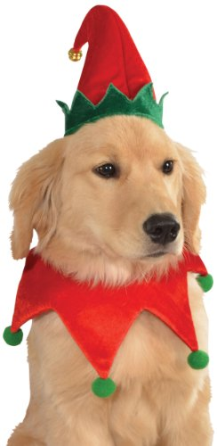 Rubies Costume Christmas Collection Pet Costume, Medium to Large, Elf Hat with Bell