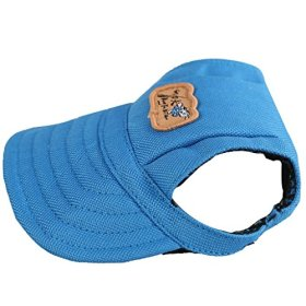 Kung Fu Dog Fashion Solid Blue Canvas Pet Dog Cat Sports Baseball Hat Sun Cap with Ear Holes Only for Small Dogs