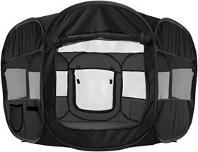Oxgord 8-Panel Pop-Up Tent with Carry Bag Portable PlayPen for Pets, 48 by 48 by 25″, Black