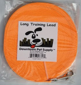 Long Dog Puppy Obedience Recall Training Agility Lead, Leash – ORANGE, 50′ Foot – by, Downtown Pet Supply