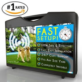 [#1 Rated Electric Dog Fence] Invisible and Wireless Containment System is Totally Safe, Effective & Reliable for Pets of All Sizes – Easy Installation for Instant Results in Yards Large & Small