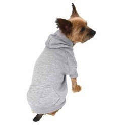 Zack & Zoey Polyester/Cotton Basic Dog Hoodie, Large, 20-Inch, Heather Gray