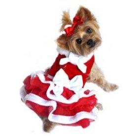 White Christmas Santa Girl Dog Dress (Small)
