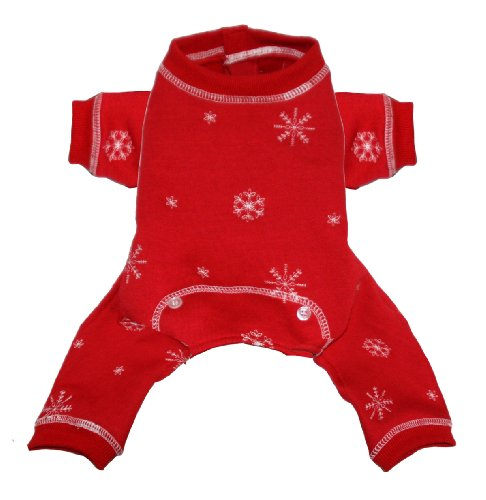 Hip Doggie Red Snowflake Longjohns, Medium