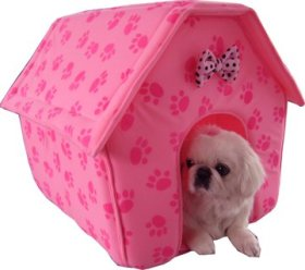 Pink Paw Print Pet Bed Quality Dog House 4 Puppy Cat