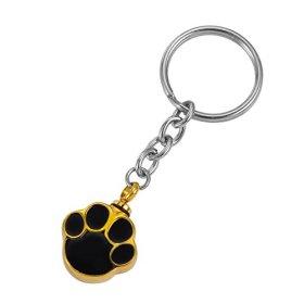 HooAMI Pet Cremation Urn Keychain Gold Black Puppy Dog Paw Charm Memorial Keepsakes