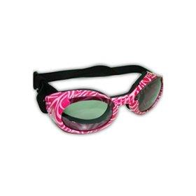 Doggles ILS Sunglass, Small, Pink Zebra Frame/Smoke Lens