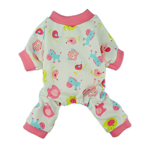 Fitwarm Cute Pink Pony Dog Pajamas Comfy Cotton Pet Pjs Shirts Clothes, Medium