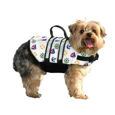 Dog Life Jacket Extra Small Nautical 7-15 lbs by Paws Aboard
