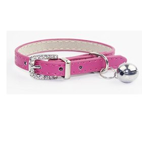 leather cat dog puppy small collars with bell