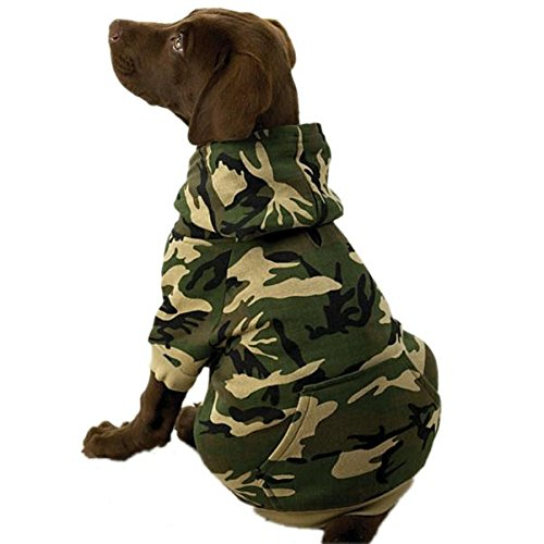 Casual Canine Cotton Camo Dog Hoodie, Large, Green