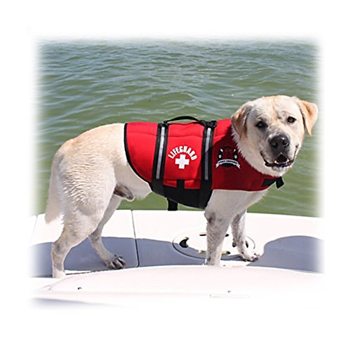 Paws Aboard Red Neoprene Life Jacket, Dog or Cat Life Preserver (Large 50-90 Lbs)