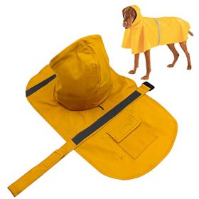 PETBABA PET ECO Lightweight Adjustable Reflective Slicker Raincoat Jacket for Small to Large Dogs Yellow XL