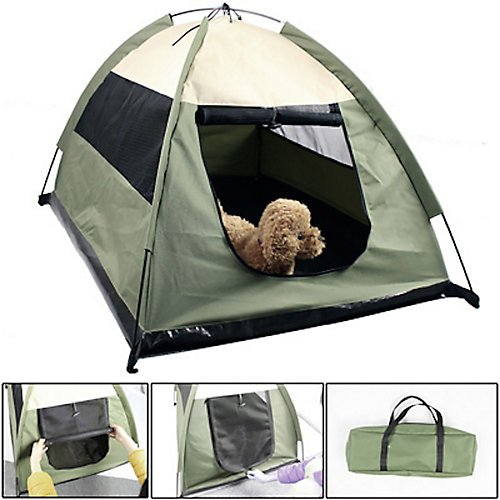 Iconic Pet Cozy Camp Pet Tent House, Sage Green with Beige