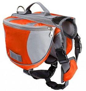 Pettom Saddle Bag Backpack for Dog, Tripper Hound Bag Travel Hiking Caming (Orange, M)