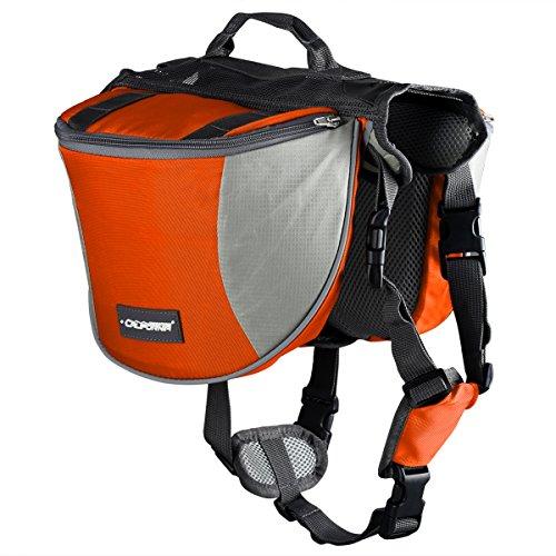 Cade Outdoor Hiking Camping Training Adjustable Dog Saddle-harness Bag Large Capacity Dog Backpack with Reflective Stripe(m, Orange)