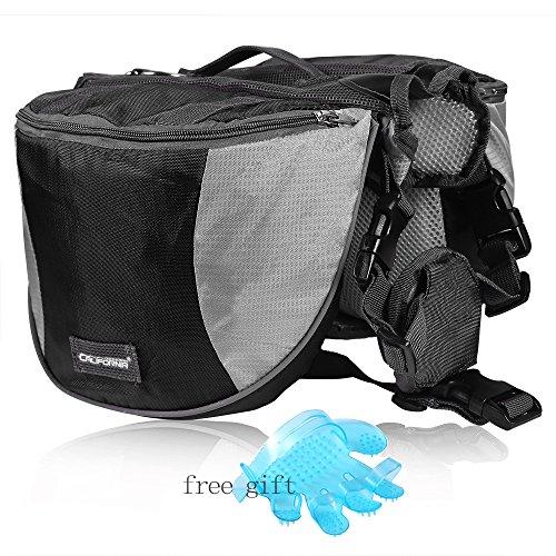 Cade Outdoor Hiking Camping Training Adjustable Dog Saddle-harness Bag Large Capacity Dog Backpack with Reflective Stripe (L, black)