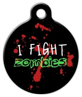 Zombie Fighter – Custom Pet ID Tag for Dogs and Cats – Dog Tag Art – LARGE SIZE