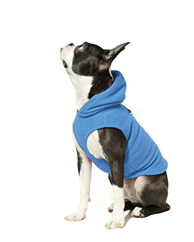 Gooby Every Day Fleece Cold Weather Dog Vest with Hoodie for Small Dogs, Blue, Large