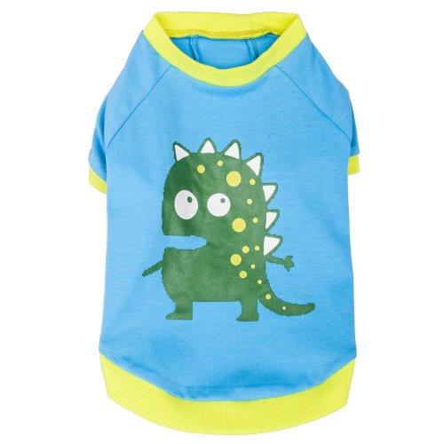 Blueberry Pet 12-Inch Alien The Dinosaur Cotton Dog Shirt, Medium, Blue