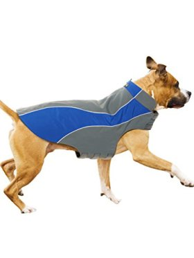 Kakadu Pet Nylon Shell And Fleece Lined Dog Coat With Reflective Stripe, Medium 22″, Sea (Blue)