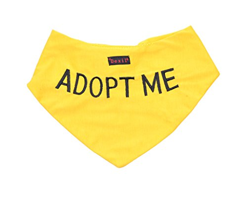 ADOPT ME Yellow Dog Bandana quality personalised embroidered message neck scarf fashion accessory Prevents accidents by warning others of your dog in advance